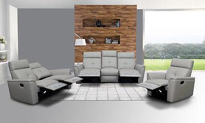 Chic Modern 8501 Light Grey Italian Leather Sofa Living Room Set