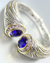 STUNNING Chunky Blue Sapphire Crystals Tips Silver Cable Gold Cuff Bracelet - $39.99
