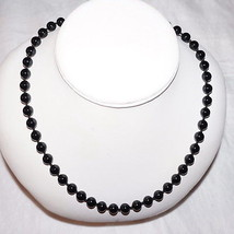 """Gorgeous Vintage Sterling Hand Knotted Chinese Black Jade Bead Necklace 20"""" - $177.99"""
