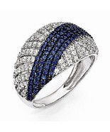 STERLING SILVER POLISHED WHITE AND BLUE  CZ RING- 156 STONES - SIZE 6 - $86.70