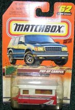MATCHBOX 1999 #62 GREAT OUTDOORS SERIES RED AND WHITE POP-UP CAMPER - $8.25