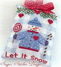 Let It Snow PDF snowman christmas cross stitch Sugar Stitches Designs  - $5.00