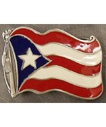 Pewter Belt Buckle National Flag of Puerto Rico unfurled NEW  - $12.00