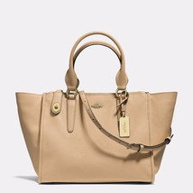 Handbag Coach Nude Crosby Carryall In Crossgrain Leather Zip Top Close S... - $530.80