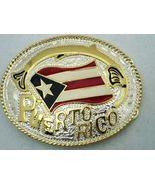 PUERTO RICO FLAG TWO TONE BELT BUCKLE NORTH AMERICA COUNTRY NATION WESTE... - $10.00