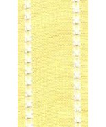 "27ct Celeste Yellow/Antique White banding 2""w x 36"" (1yd) 100% linen Mil... - $9.00"