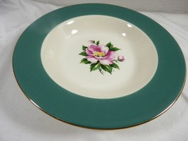 "Homer Laughlin Empire Green Rimmed pink flower European Soup Bowl 8.25"" - $19.80"