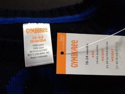 GYMBOREE SPRING PREP NAVY STRIPED w// BOW NECKLINE SWEATSHIRT TOP 12 24 2 3 4 5