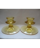 FOSTORIA #2375 FAIRFAX Topaz Candlesticks - Pair - $24.00