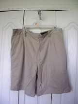 38 Mens GREG NORMAN SHARK Beige White  Poly MICROFIBER Pleated DRESS GOL... - $22.99