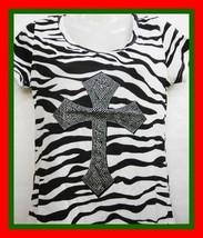S M L Black Zebra Rhinestone Cross T-Shirt Tunic Top Shirt Rodeo Biker R... - $19.99