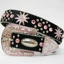S M L X Black LEATHER HAIR pink SPUR Embellished WESTERN CowBOYGIRL BUCK... - $74.99