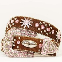 S M L X Brown Leather Hair Pink Spur Rhinestone Western Cowboy Girl Buck... - $74.99