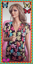 S Small Black  Multi-Colored Floral Notations Pleated ButtonTop Blouse Cap Slv - $14.99