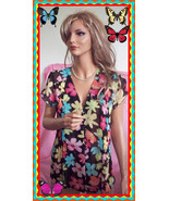 S Small Black  Multi-Colored Floral Notations Pleated ButtonTop Blouse C... - $14.99