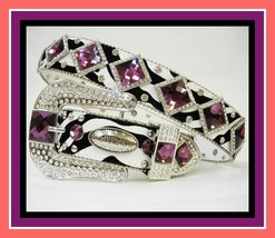 S M L XL Zebra Purple Diamond Western Rhinestone Buckle Cowboy Girl Belt... - $74.99