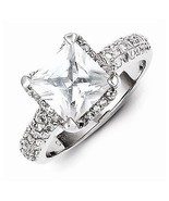 BEAUTIFUL STERLING SILVER SQUARE STONE  CZ RING - SIZE 6 - $57.86