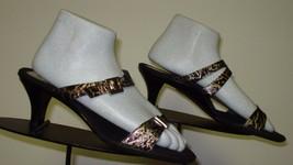 Women's Helle Comfort Kitten Heel Black/Gold Leather Faux-Croc Strappy Sz. 8.5 - $35.62