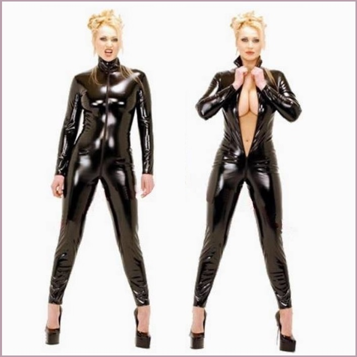 Black Long Sleeve Wet Look Stretch Faux PU Leather Front Zip Around Back Catsuit