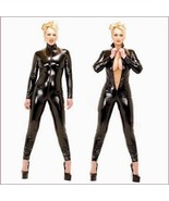 Black Long Sleeve Wet Look Stretch Faux PU Leather Front Zip Around Back... - $87.95