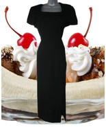 black 90s dress lbd maxi with slit size 10 10p large petite - $49.99