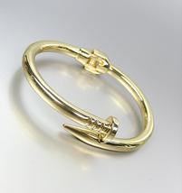 New Classic Designer Style Gold Nail Wrap Hinged Bangle Bracelet - $17.99