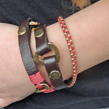 Red triple wrap unisex bracelet, braided artisan leather wrap, best gift idea - $39.00