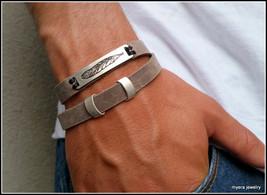 Men Feather leather bracelet, symbolic artisan soft leather bracelet cuff gift - $34.50