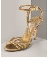 New $525 Ralph Lauren Collection Gold Shoe Heels 10 New  - $525.00