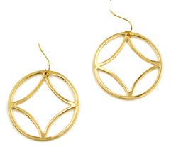 Women new gold geo circle drop pierced earrings - $23.08 CAD