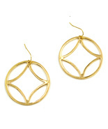 Women new gold geo circle drop pierced earrings - €14,63 EUR