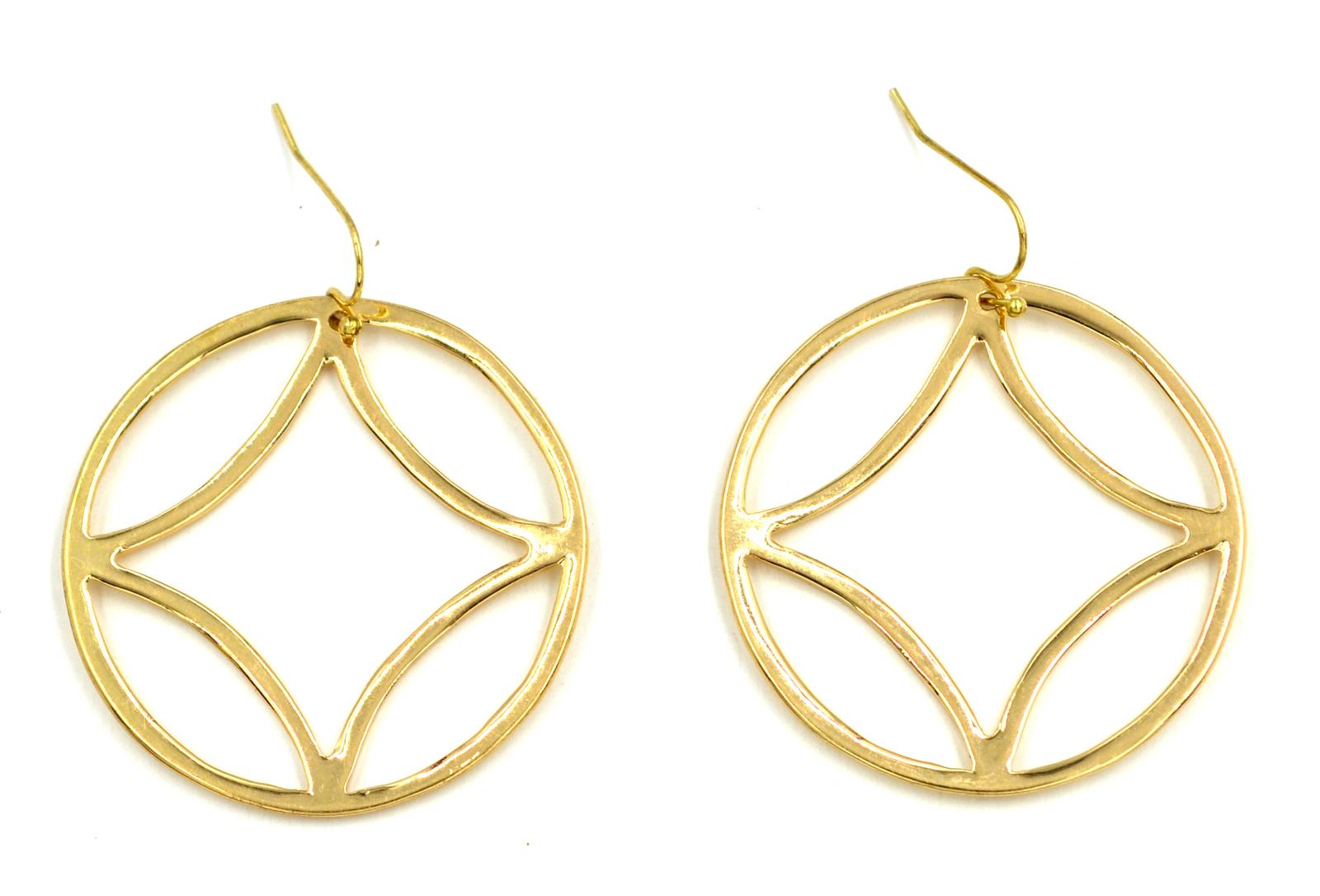 Women new gold geo circle drop pierced earrings