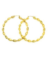 Women oversized new gold glitter thick twist hoop pierced earrings - $19.00