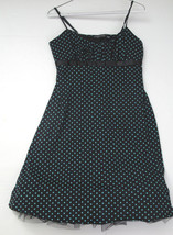 Rampage Black with Blue Polka Dots Spaghetti Strap Empire Dress Size L P... - $16.65