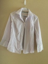 Used Womens  Ann Taylor stripe wear to work Violet purple stretch blouse shirt 8 - $13.54
