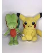 "Pokemon Center Nintendo Pikachu Treecko Plush 8"" Stuffed Animal Set of 2 - $24.09"