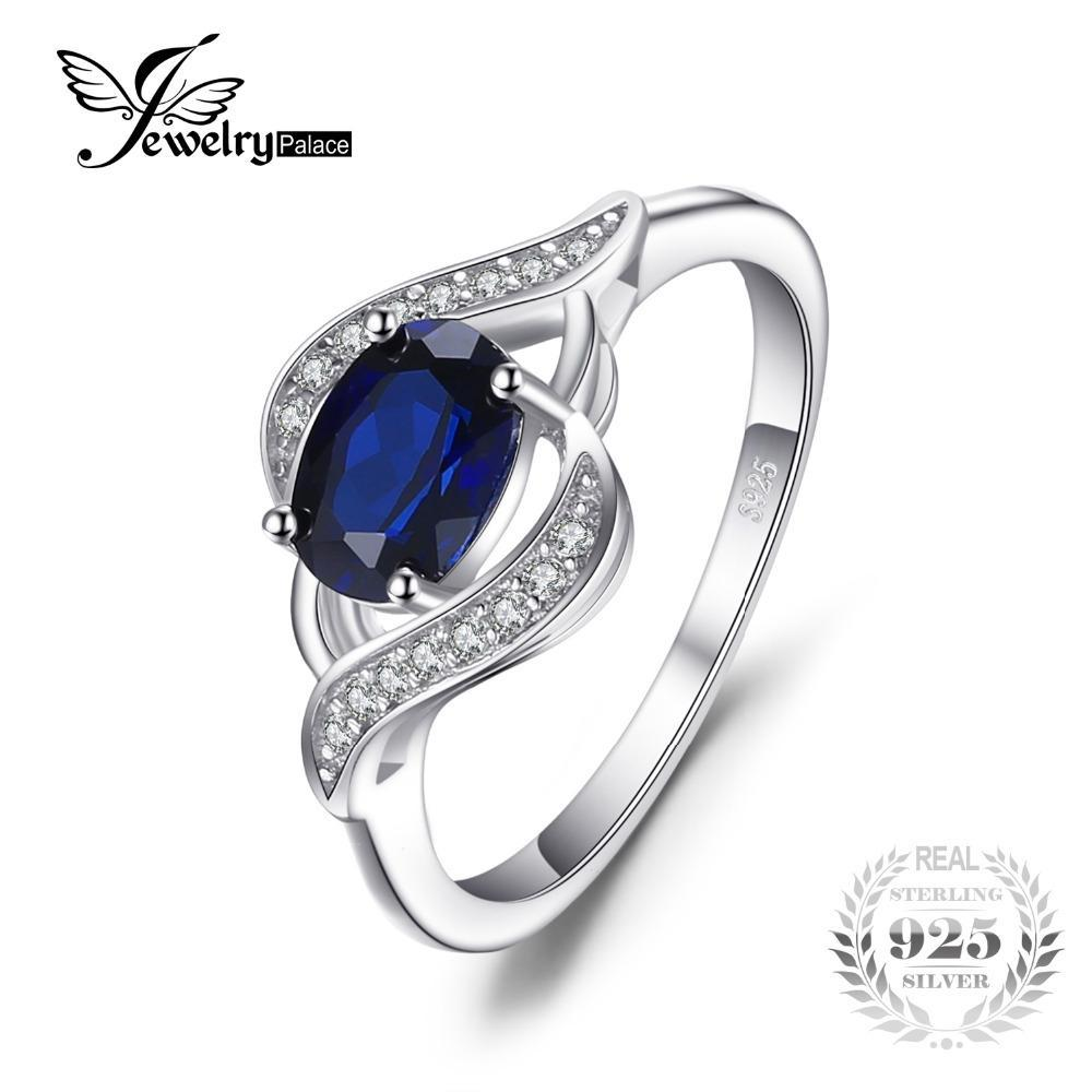 Ce 1 1ct created blue sapphire statement ring 925 sterling silverfine jewelry new gift for women