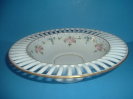 Westmoreland Glass Hand Painted Roses and Forget Me Nots Centerpiece Bowl - $45.00