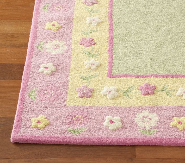 Brand New Pottery Barn Kids Floral Border Area Rug 5X8