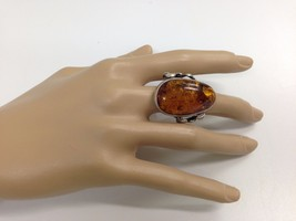Vintage Sterling Silver Art Nouveau Style genuine Baltic Amber Ring s 8.... - $158.39