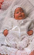 First Portrait lovely layette pattern to crochet: shawl, gown, bonnet, b... - $16.20