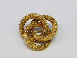 Antique Victorian 10 kt Gold LOVE Knot Pin Raised Floral Design - $99.99
