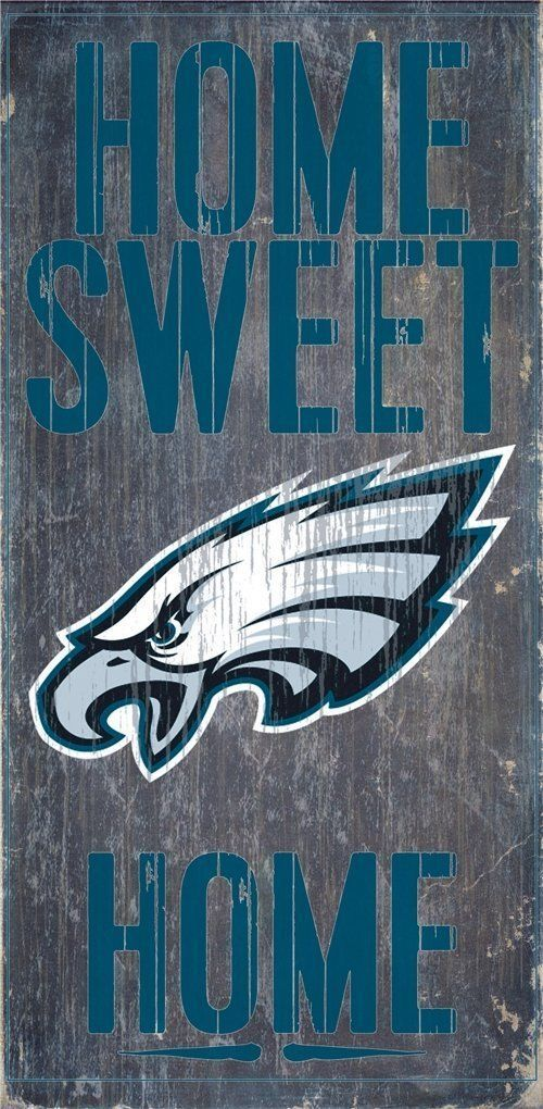 "PHILADELPHIA EAGLES HOME SWEET HOME WOOD SIGN and ROPE 12"" X 6""  NFL MAN CAVE!"