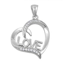 Sterling Silver CZ Heart pendant Love Script New d35 - $12.49