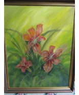 "Landscape Orange Lillies Flowers Original 26"" by 33""  Acrylic Painting F... - $74.33"