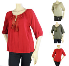 Women Sexy Boat Neck 3/4 Sleeve Embroidered BLOUSE Woven Casual Shirt So... - $17.99