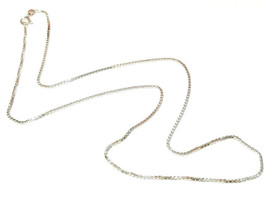 "20"" BOX CHAIN STERLING SILVER NECKLACE 1.4mm W. Clasp 5.9mm Spring Ring 5.15gr image 1"
