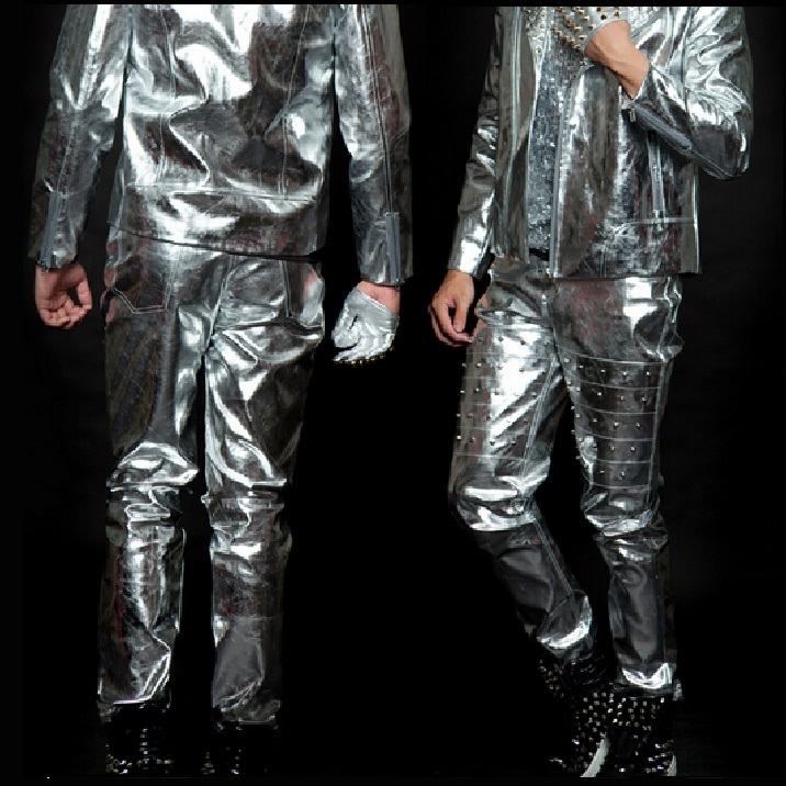 Mens Rivet Flash Liquid Silver Stage Entertainer Open Fly Zip Up Pants
