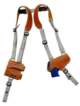 Tan Leather Thumb Break Shoulder Holster w/Mag Pouch Kimber Ruger 380 9mm 40 45 - $109.99