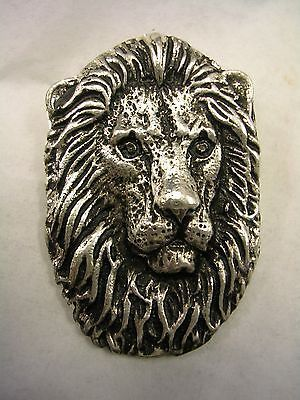 LION PENDANT CHARM WITH HIDDEN BAIL AND BLACK ANTIQUE IN STERLING SILVER
